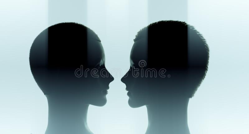 Cyber machine learning how to help people. Artificial intelligence machine learning concept, robot head royalty free stock photo