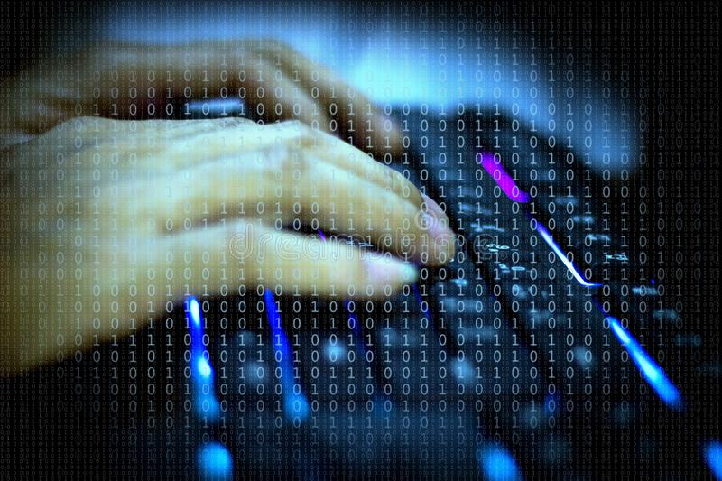 Cyber, Men`s hand on the keyboard who are hacking the security system stock photography