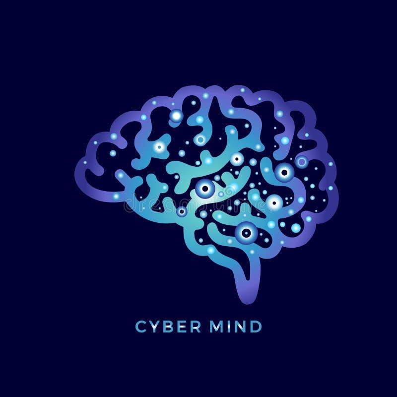 Cyber mind. Vector digital concept. Computer techologies stock illustration