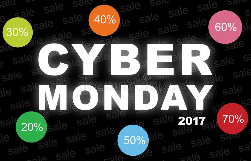 Cyber monday background with with discount icons. stock photo