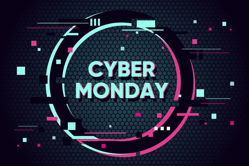 Cyber monday background with glitch effect. Promo sale horizontal banner design. Abstract vector illustration with vector illustration