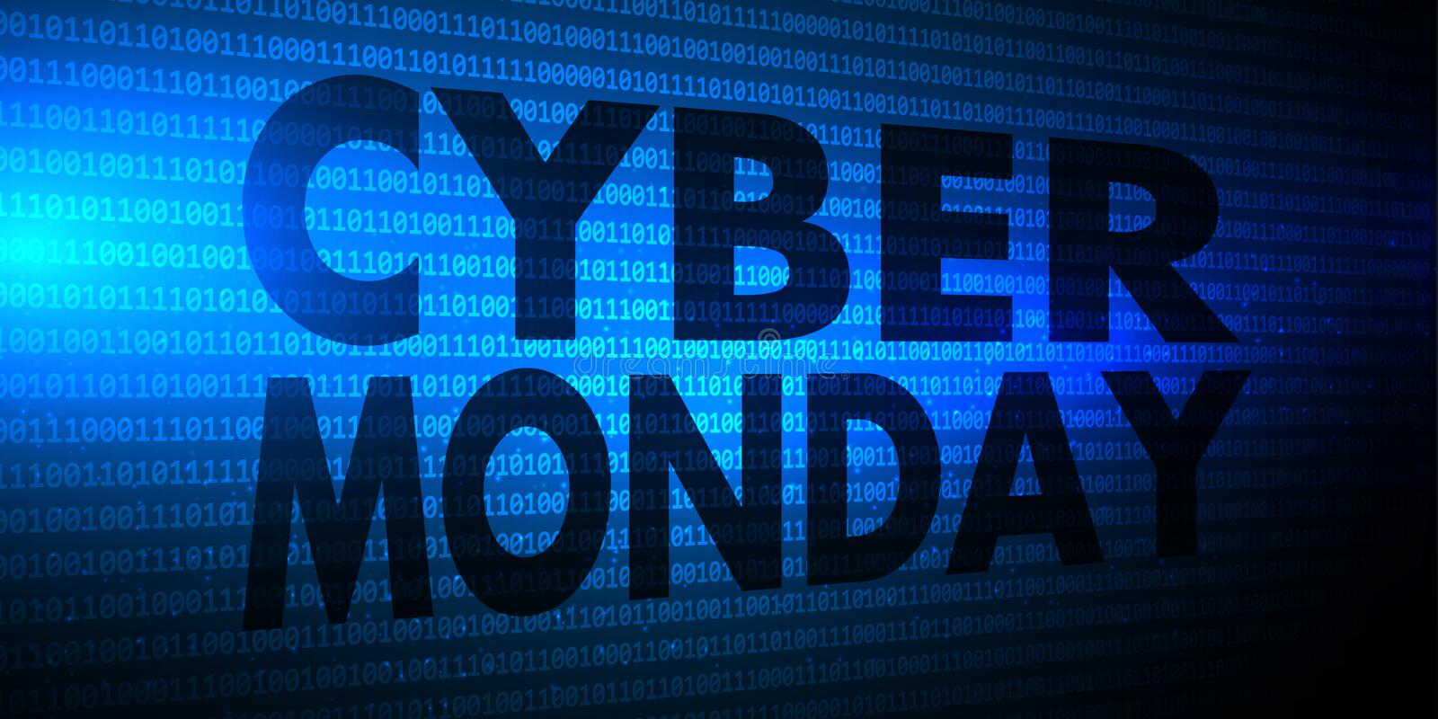 Cyber Monday banner with binary code design vector illustration