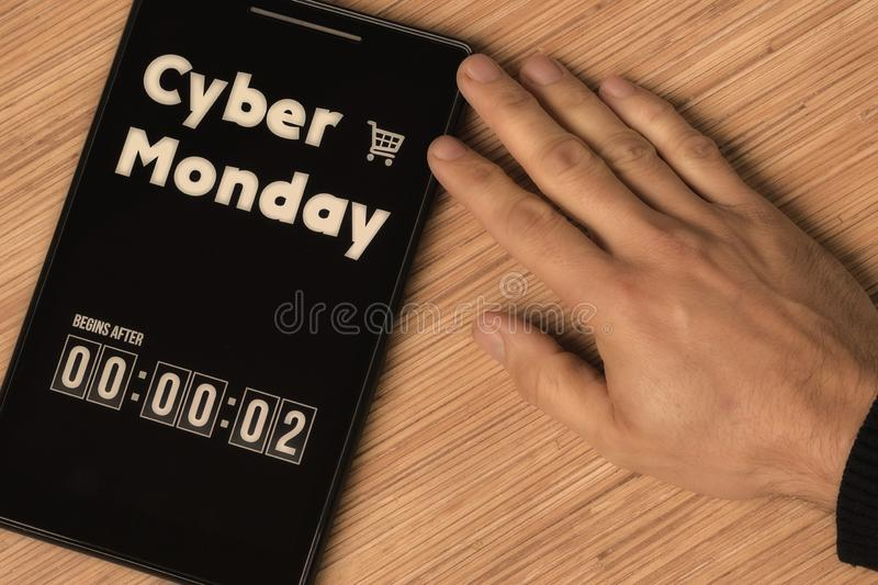 Cyber Monday. Begins after stock images