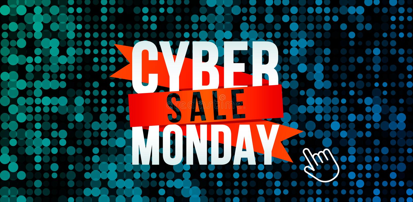 Cyber monday, big discount banner on techno background and binary code royalty free illustration
