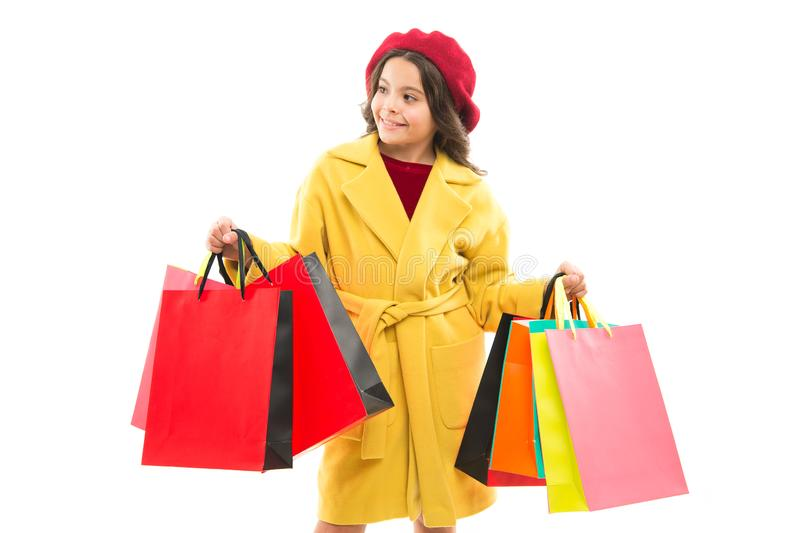 Cyber Monday is the biggest shopping online. Small child after Cyber Monday shopping. Happy little girl hold paper bags. Enjoy Cyber Monday sale. Cyber Monday royalty free stock photos