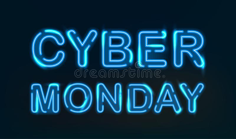 Cyber Monday neon light. royalty free illustration