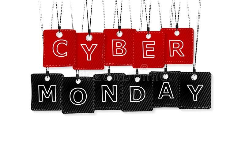 Cyber Monday. Text with red and black labels isolated on white background stock illustration
