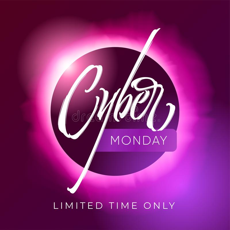 Cyber Monday discount banner. Lettering with eclipse of the sun on background. Typography on dark ultraviolet background stock illustration