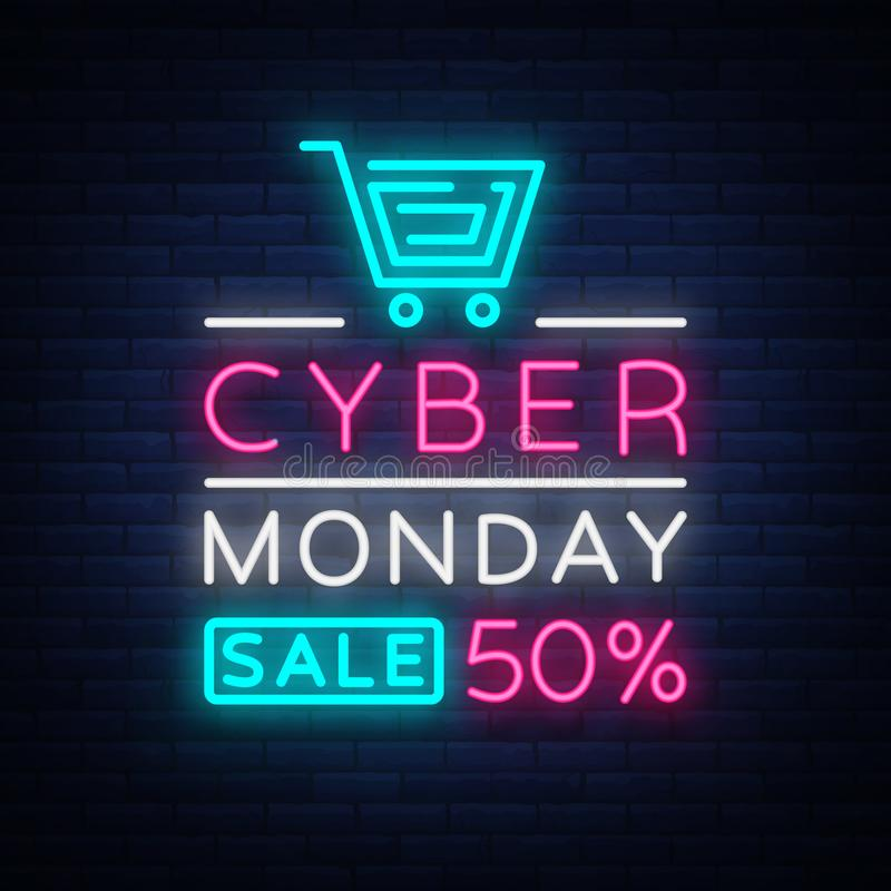 Cyber Monday, discount sale concept illustration in neon style, online shopping and marketing concept, vector royalty free illustration