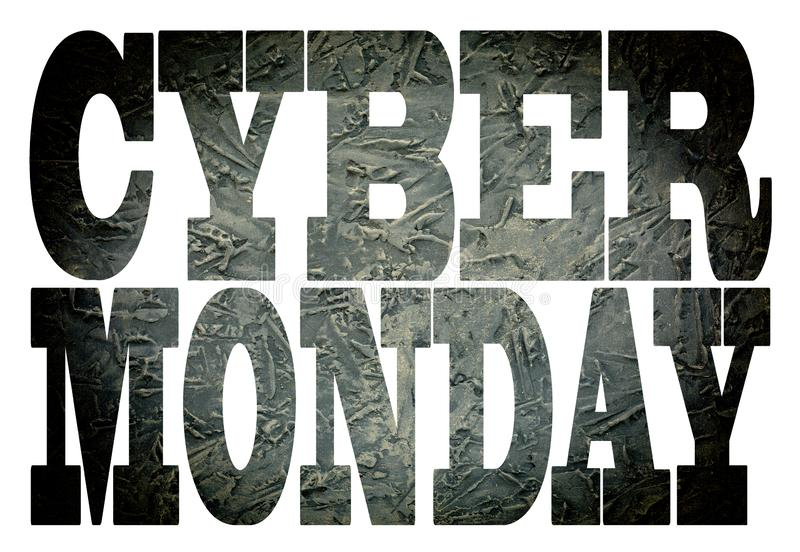 Cyber Monday. font, transparency, Business concept for Retail Shop Discount, sale, shop, sign, blank,. Cyber Monday. Stone black font with transparency CYBER royalty free stock images