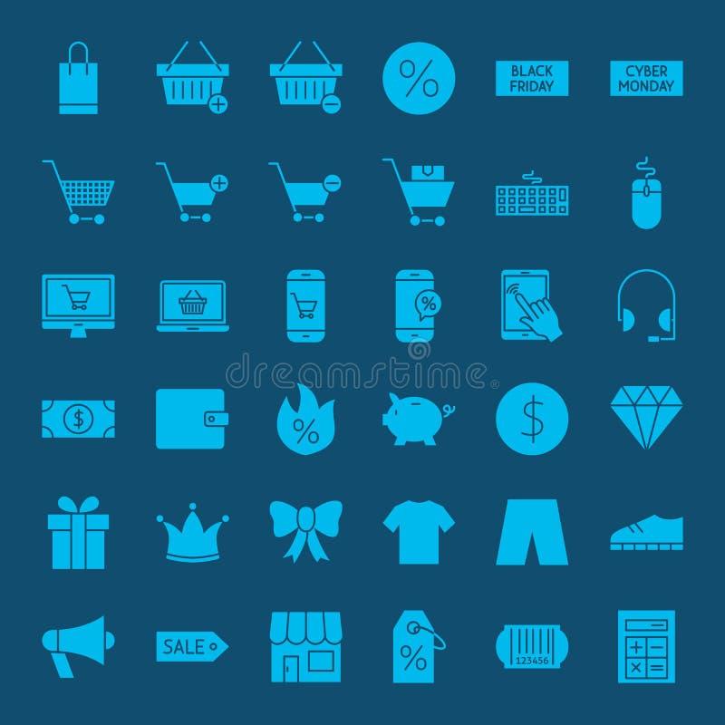 Cyber Monday Glyph Web Icons royalty free illustration