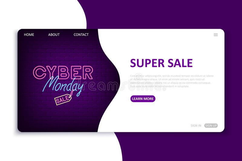 Cyber Monday landing page. Website template in neon style for seasonal internet discount. Bright neon web site mock up. For cyber monday. Vector illustration vector illustration