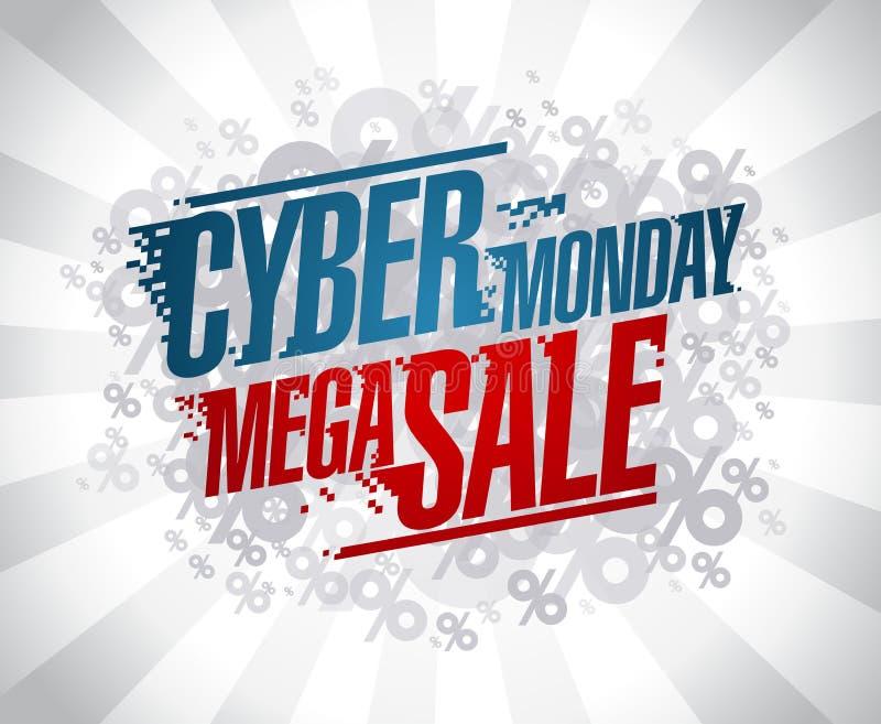 Cyber monday mega sale design stock illustration