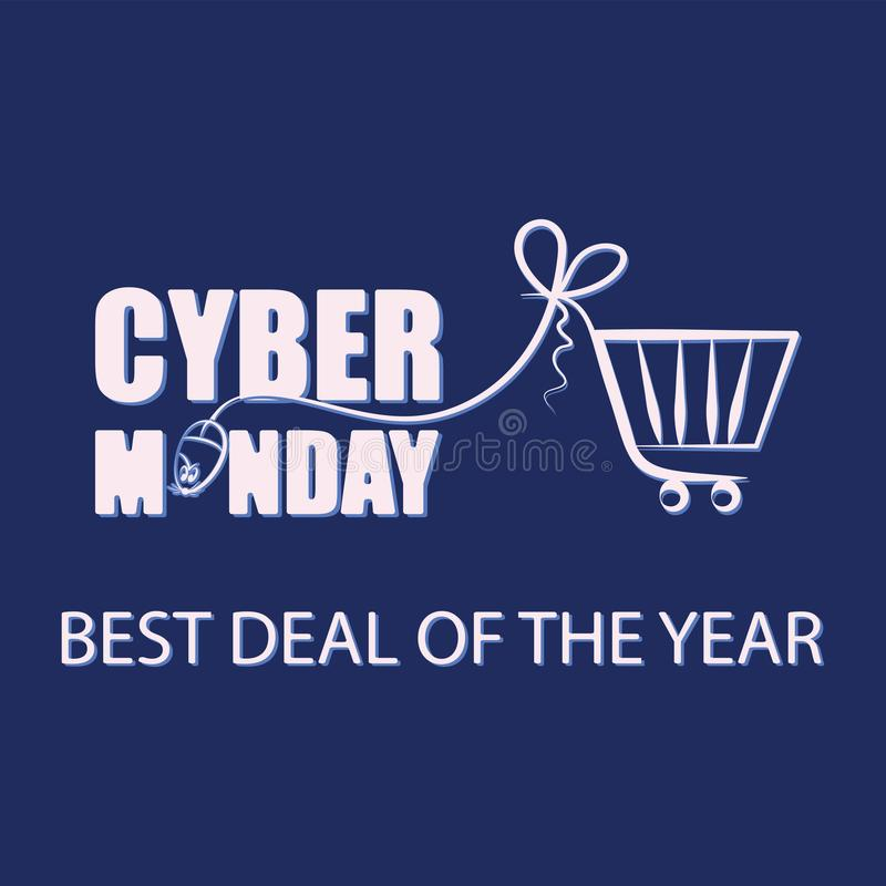 Cyber Monday. Mouse for PC and shopping cart on a dark background. vector illustration