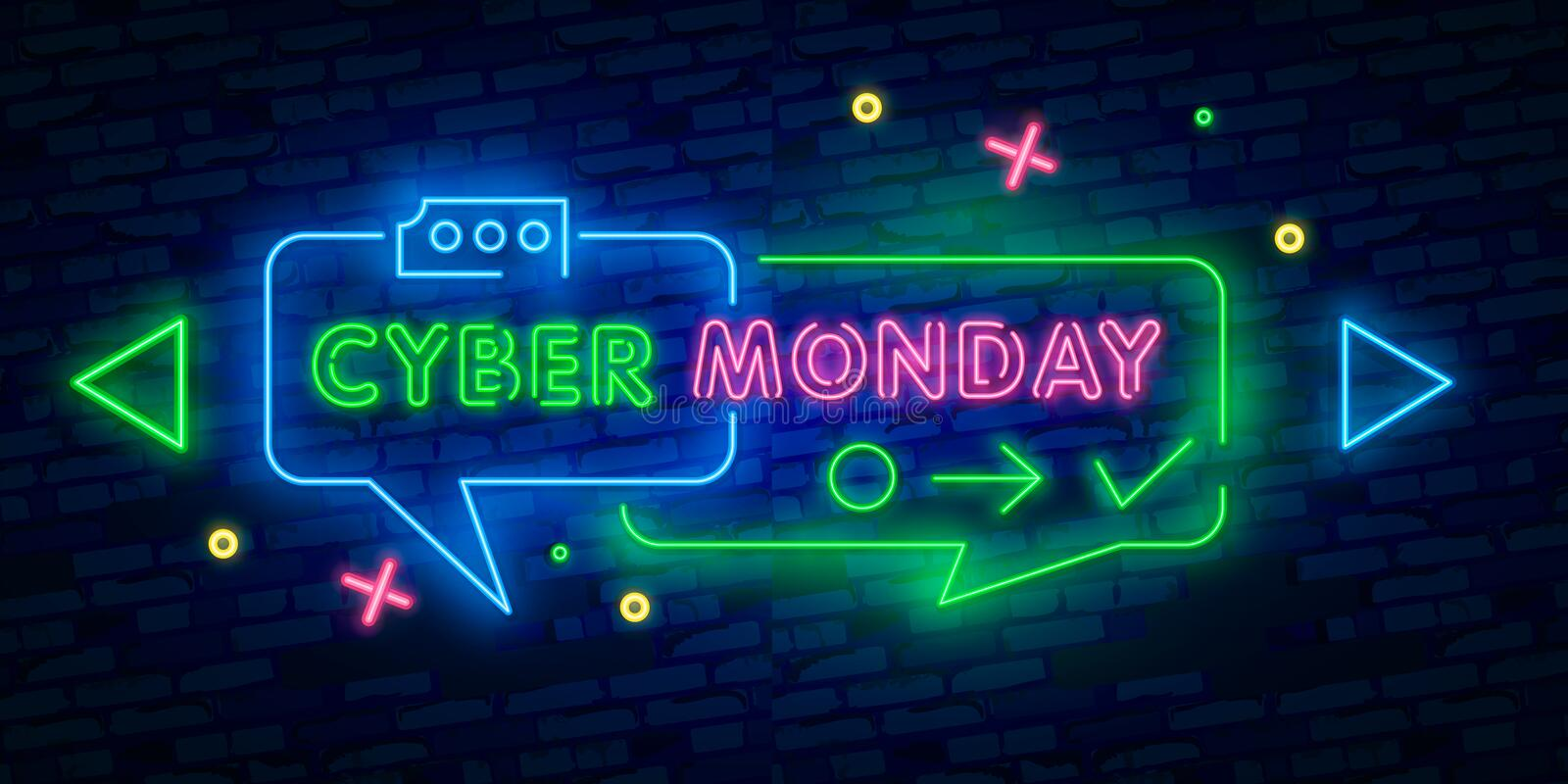 Cyber monday neon advertising banner of mobile app sale on dark brick wall background. Shopping icons and text. Discounts and sale stock illustration