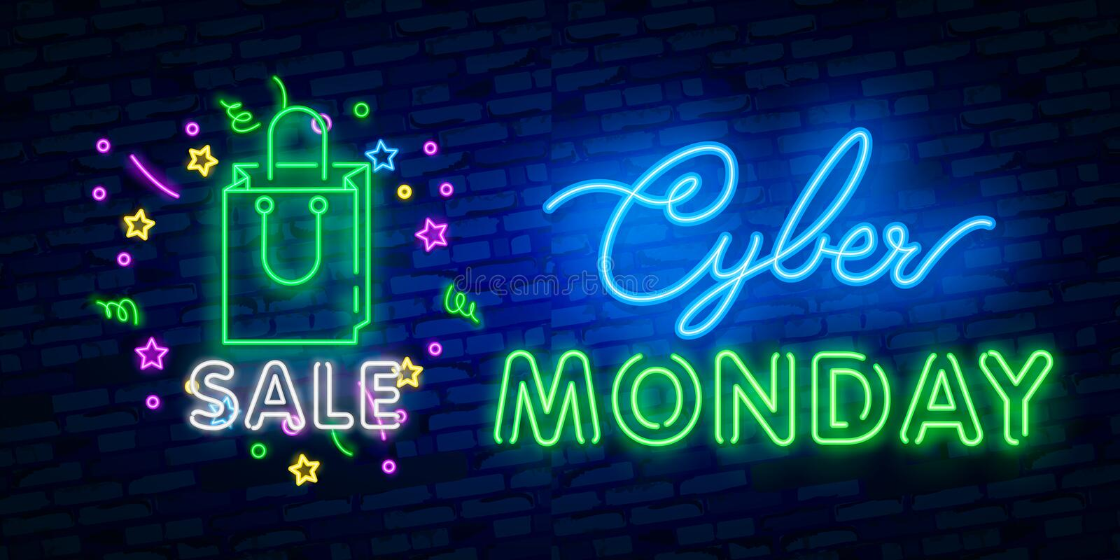 Cyber Monday neon sign, bright signboard, light banner. Discount, night sale logo, emblem. Vector illustration stock illustration