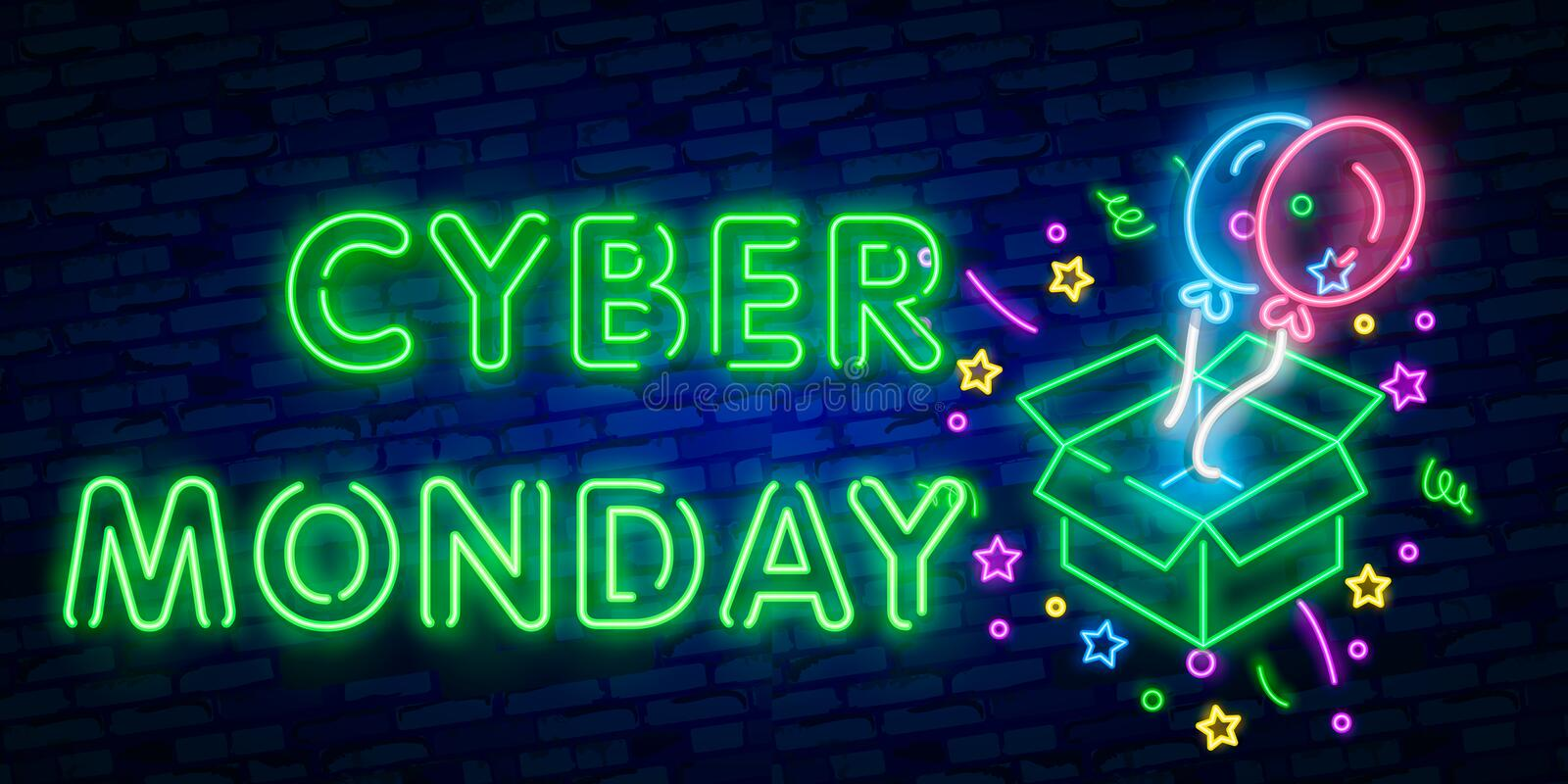 Cyber Monday neon sign, bright signboard, light banner. Discount, night sale logo, emblem. Vector illustration vector illustration