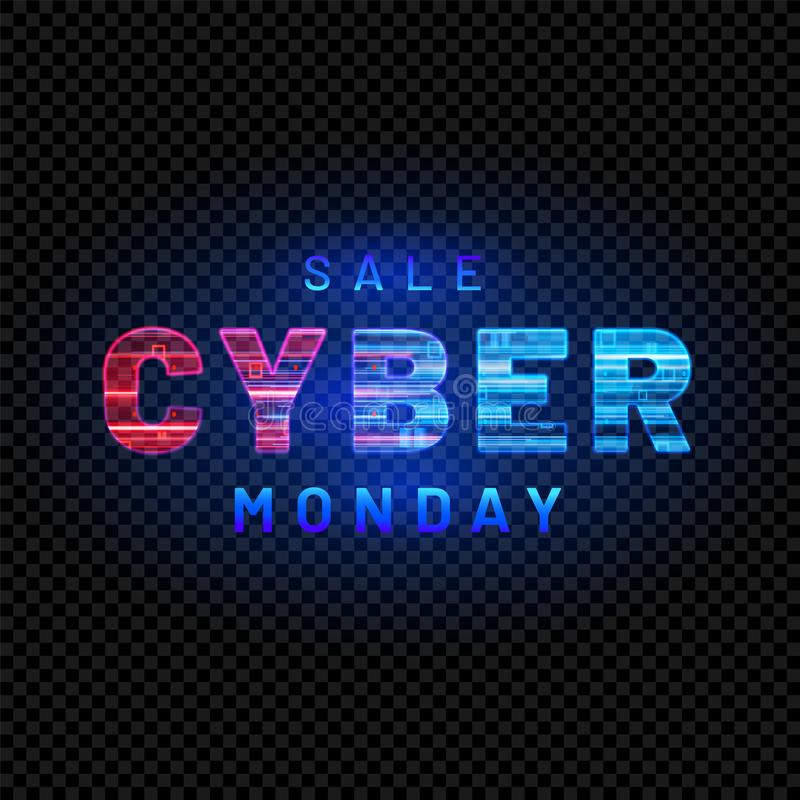 Cyber Monday. Promotional online sale event. Vector technology illustration. stock illustration
