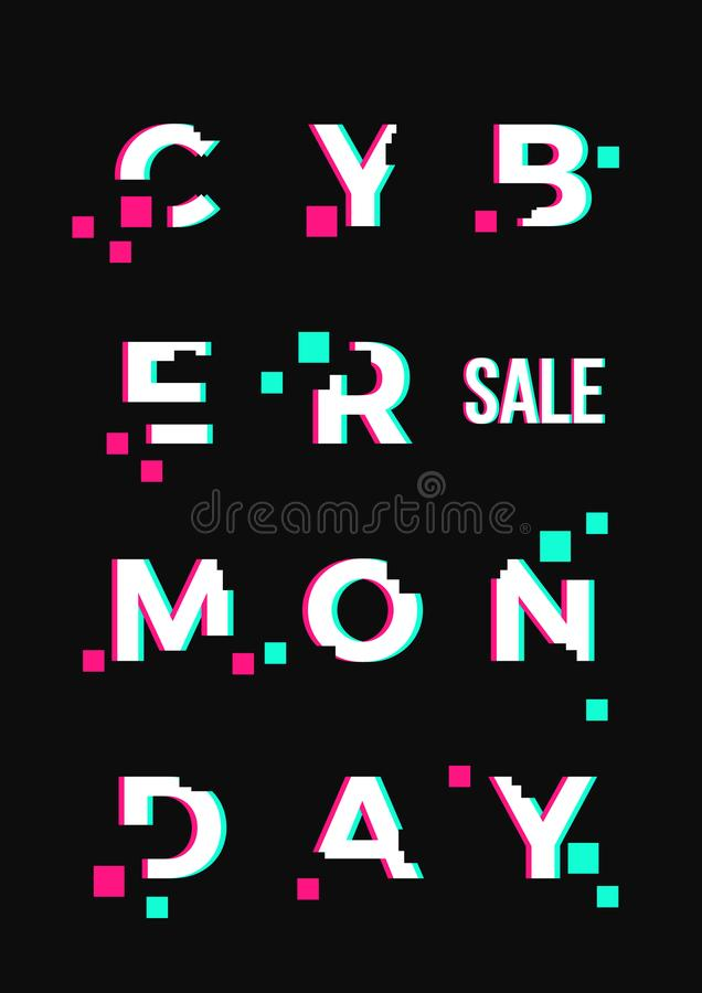 Cyber Monday Sale Abstract Vector Card or Poster Template. Modern Typography, Pixels and Glitch Effect. Electronics stock illustration