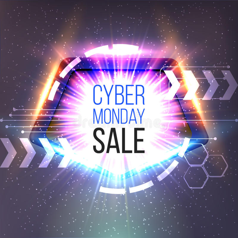 Cyber Monday sale banner with frame and glowing rays stock illustration