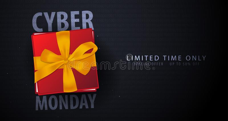 Cyber Monday Sale banner with gifts. Binary code background. Vector illustration. stock illustration