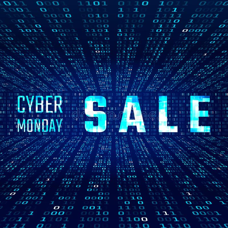 Cyber Monday Sale Banner with Glitch Effect on Binary Code Background. Vector illustration stock illustration