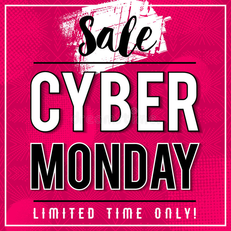 Cyber Monday sale banner on pink patterned background, vector royalty free stock images