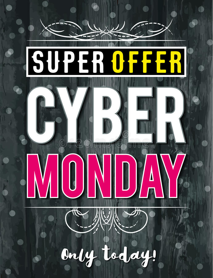Cyber Monday sale banner on wooden black background, vector stock image
