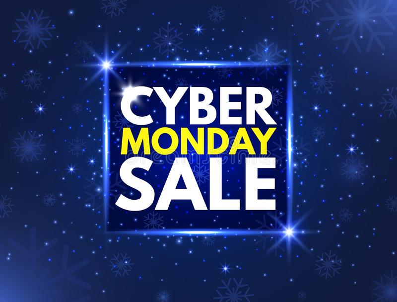 Cyber Monday sale concept banner. Luminous signboard, nightly advertising. Annual sale background. Good deal promotion. Cyber Mond stock illustration
