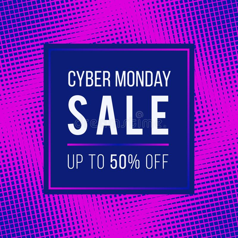 Cyber Monday Sale concept banner. 1980-1990s style vector design stock illustration