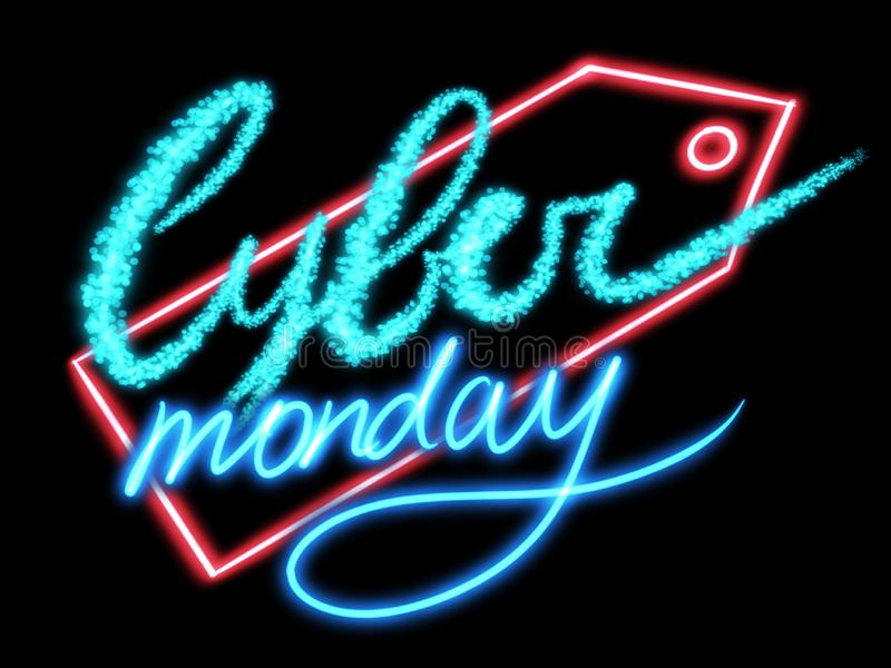 Cyber Monday sale concept.Handwritten neon sign Cyber Monday on red tag on black background, modern illustration. Big sale,. Special discount offer stock illustration