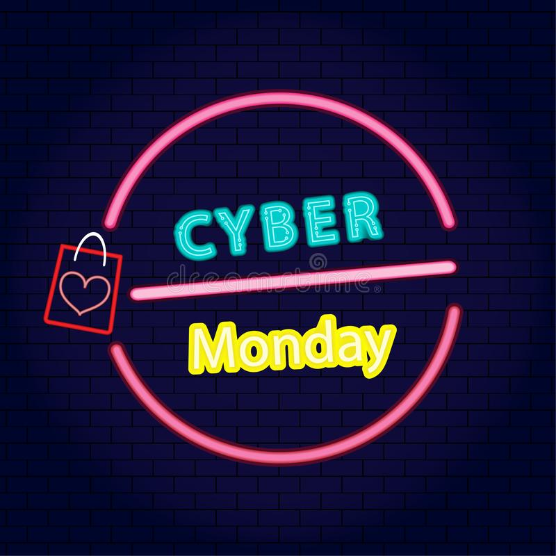 Cyber Monday Sale concept is neon style on brick wall about advertising, advertisement of buy and sales rebates of cyber Monday. vector illustration