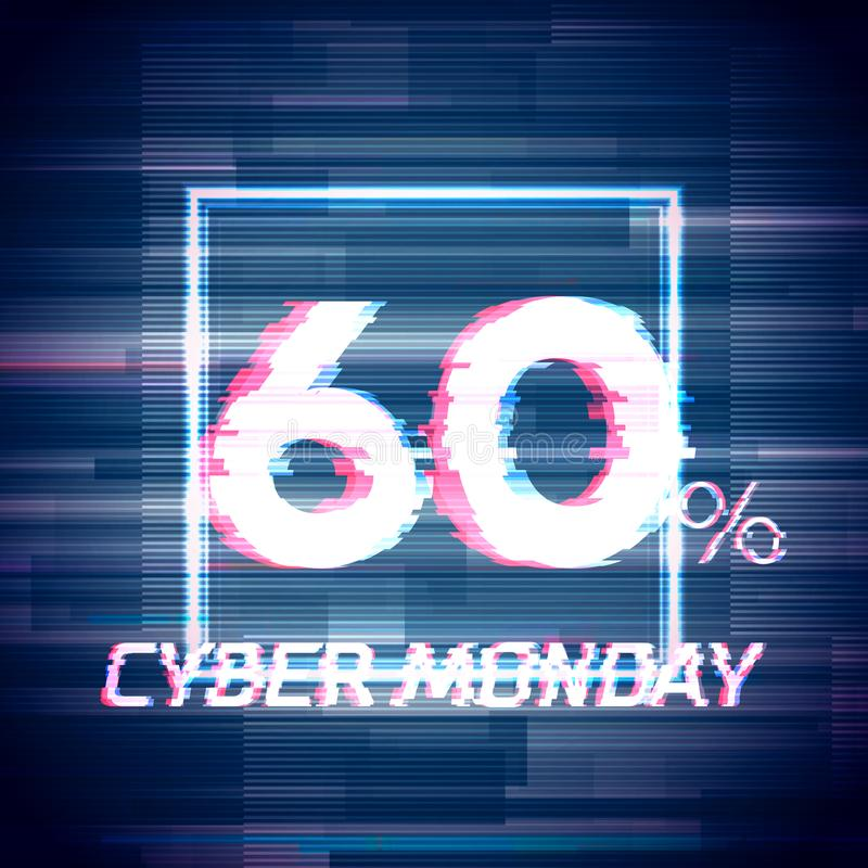 Cyber monday sale discount poster or banner with glitch. Cyber monday sale discount poster or banner with square sign and glitch text up to 60 percent off vector illustration