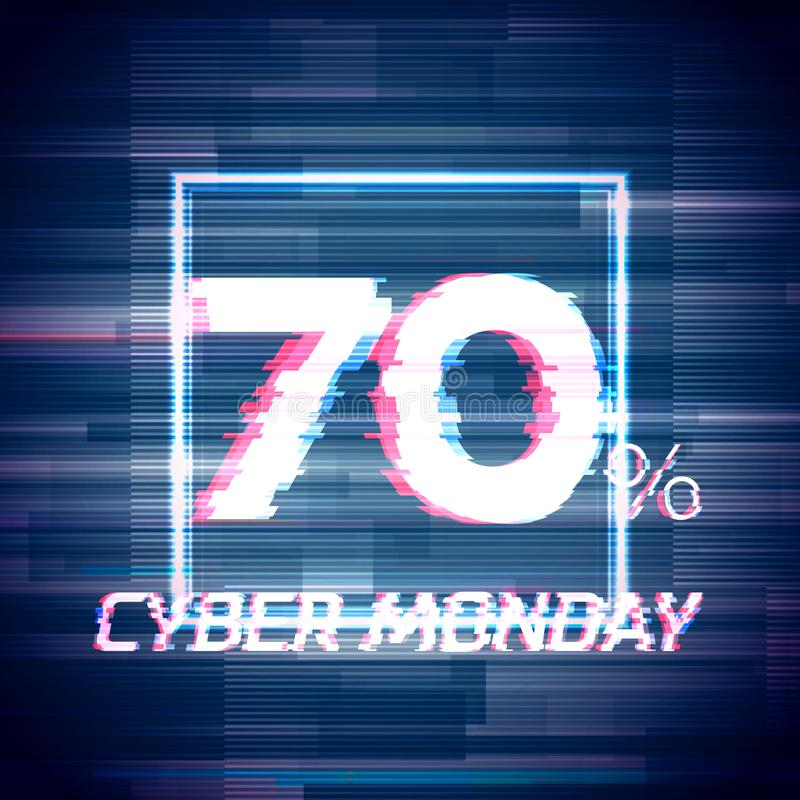 Cyber monday sale discount poster or banner with glitch. Cyber monday sale discount poster or banner with square sign and glitch text up to 70 percent off vector illustration