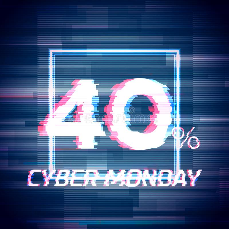Cyber monday sale discount poster or banner with glitch. Cyber monday sale discount poster or banner with square sign and glitch text up to 40 percent off royalty free illustration