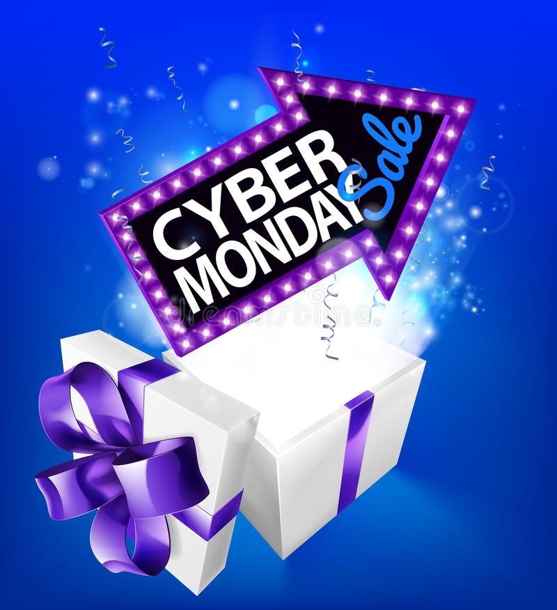 Cyber Monday Sale Gift Box Sign. A blue Cyber Monday Sale arrow sign exploding out of a gift box with a purple ribbon bow design vector illustration