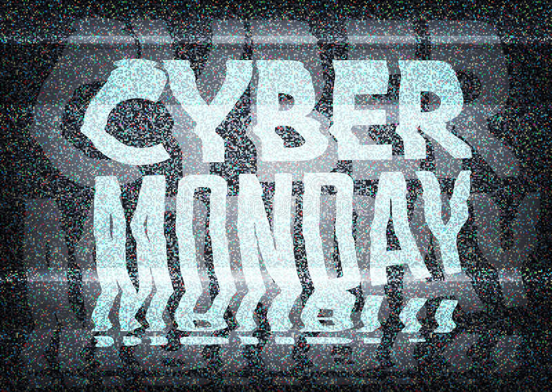 Cyber Monday Sale glitch art typographic poster. Glitchy cyber. Monday typography on an old tv screen with static noise, for retail sale announcement designs royalty free illustration