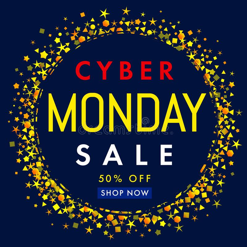 Cyber Monday Sale Promotion Banner Power Button And Star