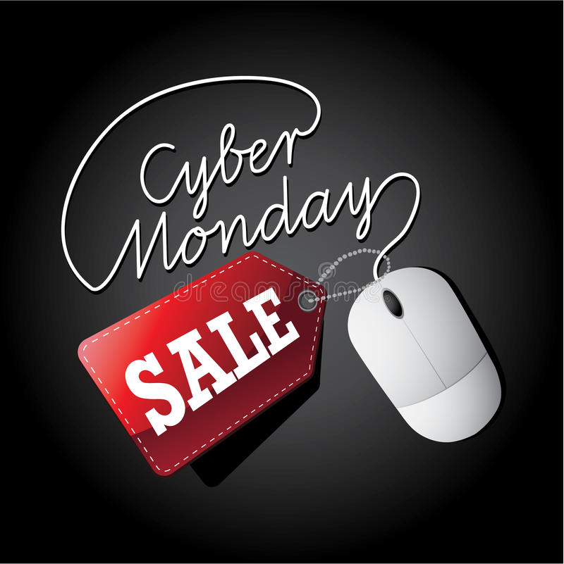 Cyber Monday sale mouse and tag royalty free illustration