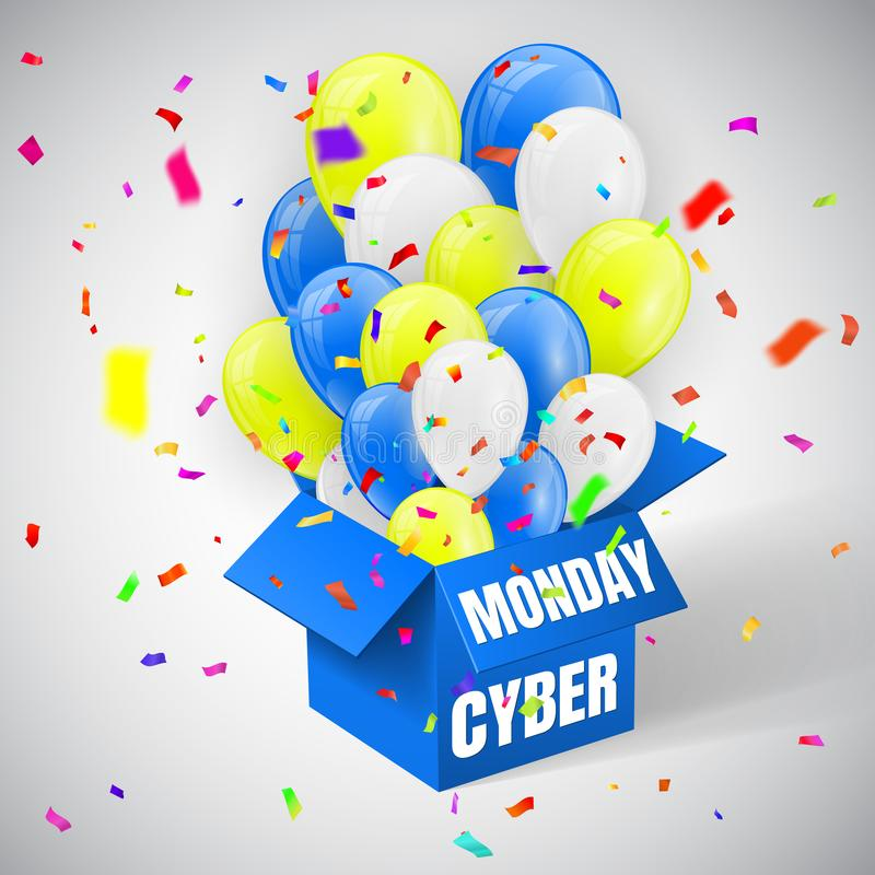Cyber Monday Sale Poster with confetti, blue, yellow and white Shiny Balloons Bunch flying from open blue box. Vector illustratio stock illustration
