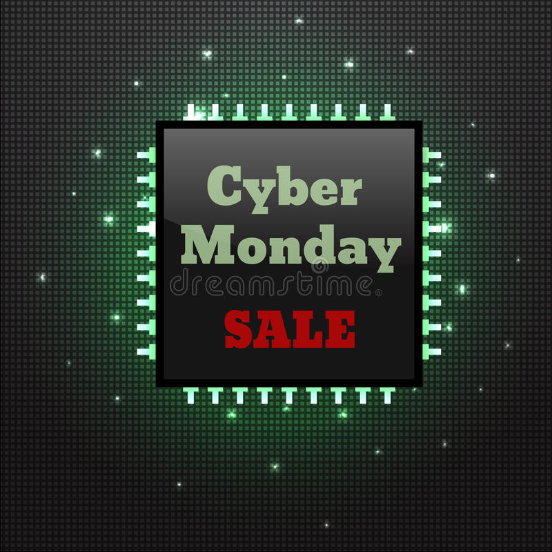 Cyber Monday Sale Poster Electronic Board With Processor Stock Illustration Illustration Of Monday Deal 80113872