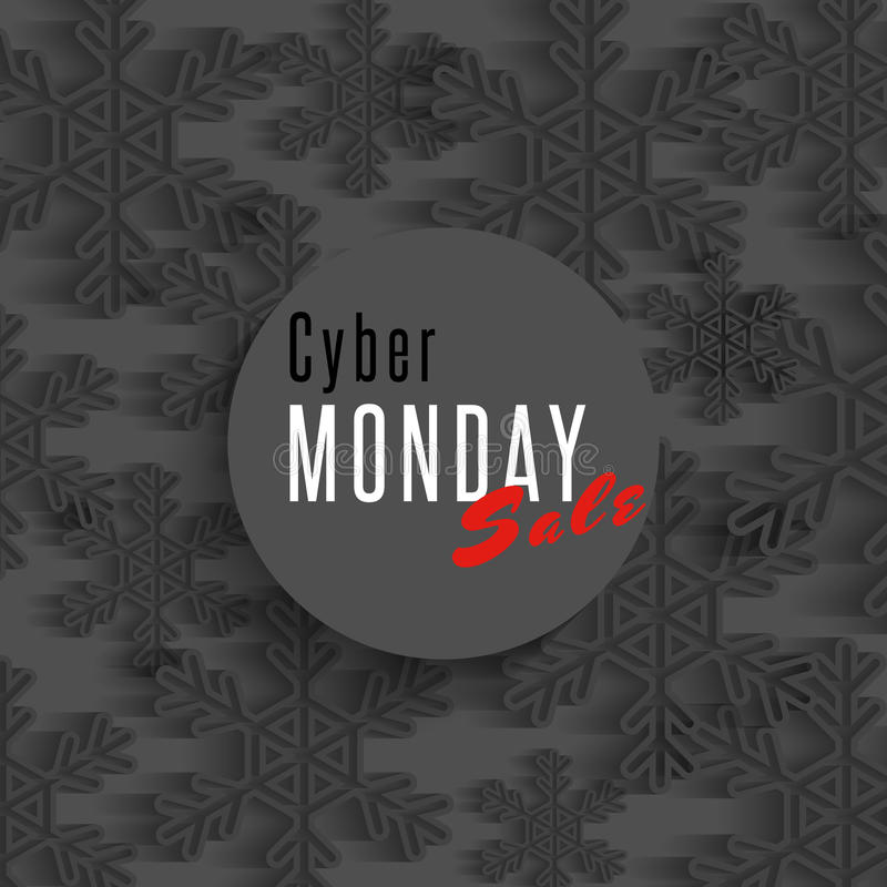 Cyber monday sale poster, winter offer advertising marketing banner, dark snowflakes flyer shop background vector illustration