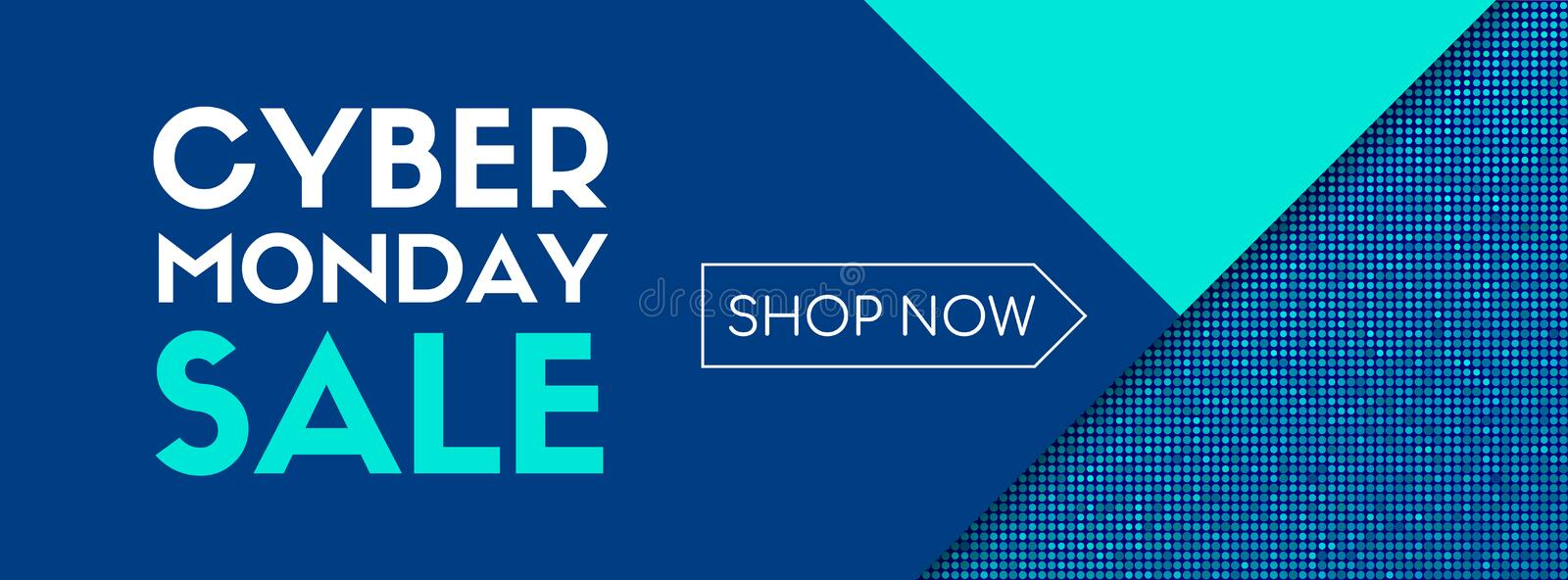 Cyber monday sale. Shop now. Vector banner template royalty free illustration