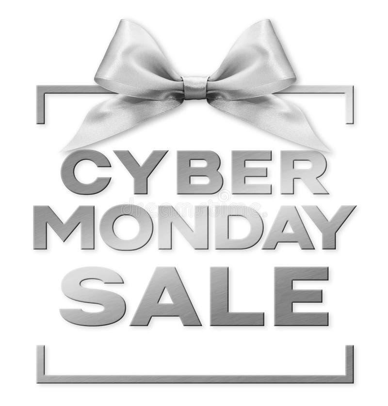 Cyber monday sale silver text isolerad på vitt presentkort med silverband stock illustrationer