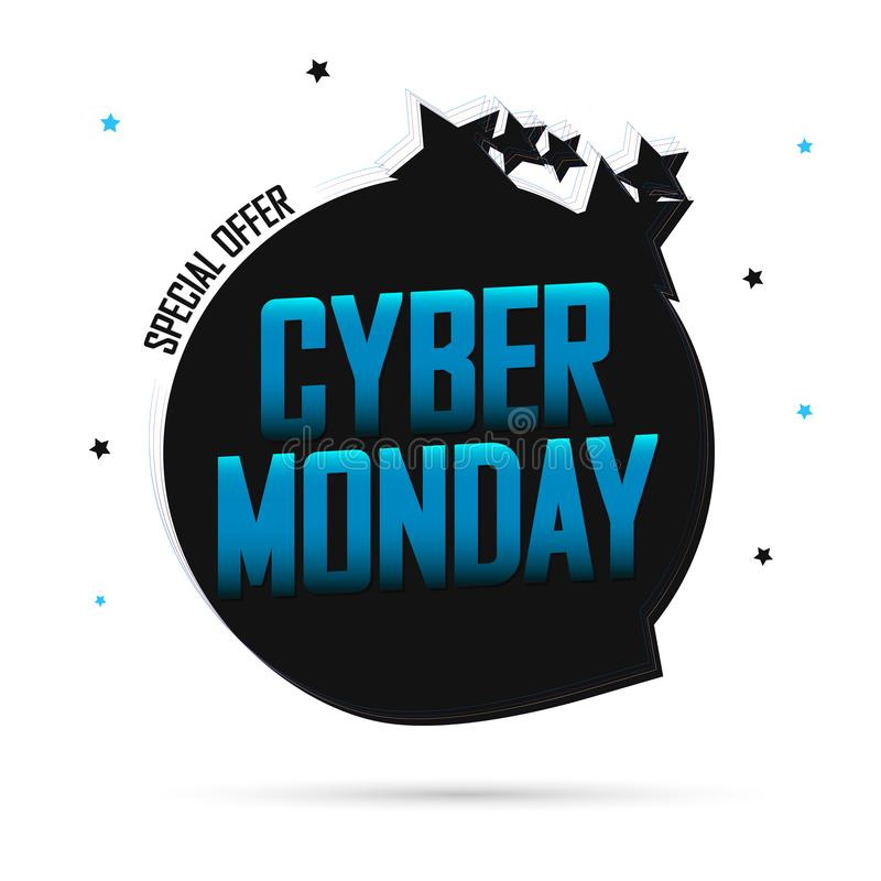 Cyber Monday,  Sale speech bubble banner design template, special offer, mega discount tag, app icon, vector art and illustration royalty free illustration