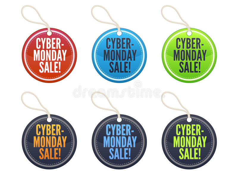 Cyber Monday Sale Tags. A set of sale tags for Cyber Monday