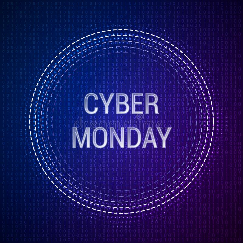Cyber Monday Sale vector banner template on binary background. EPS 10 vector illustration royalty free illustration