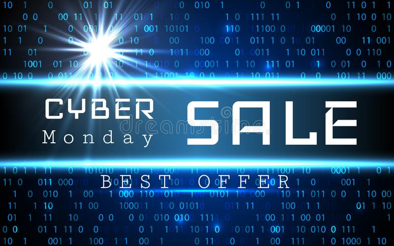 Cyber Monday Sale vector banner template. Blue shining binary code background with arrows and sample text vector illustration