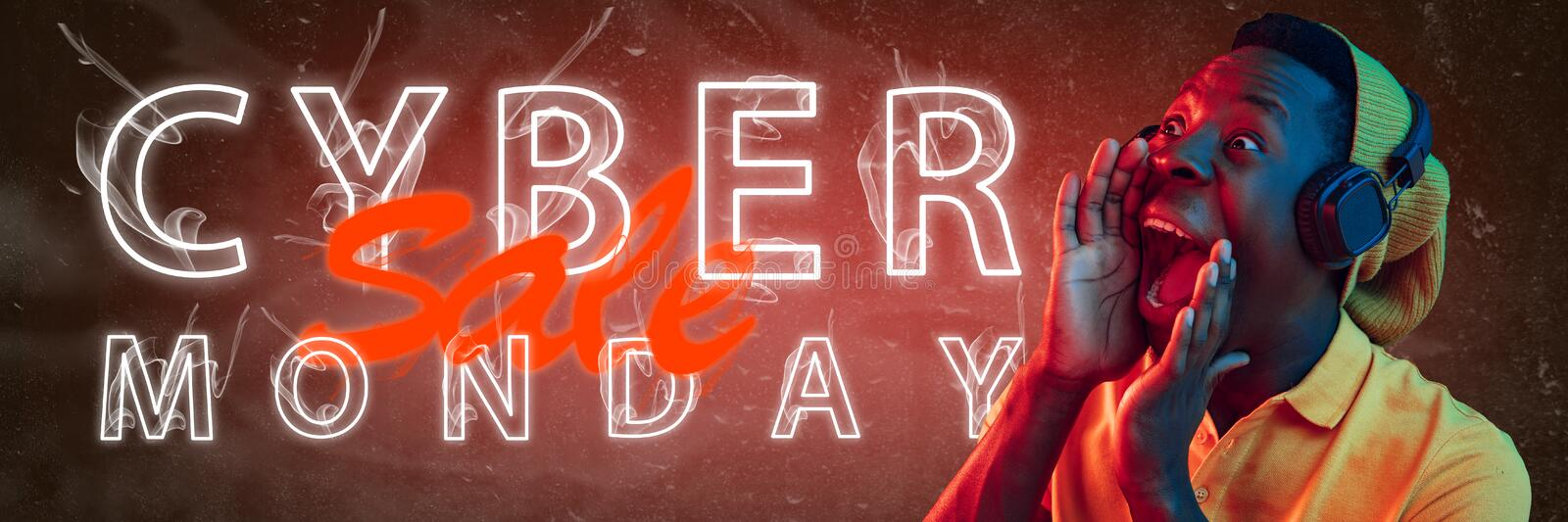 Cyber monday, sales. Modern design. Contemporary art collage. Cyber monday, sales, purchases concept. Neon lighted letters on gradient background. Astonished stock photos