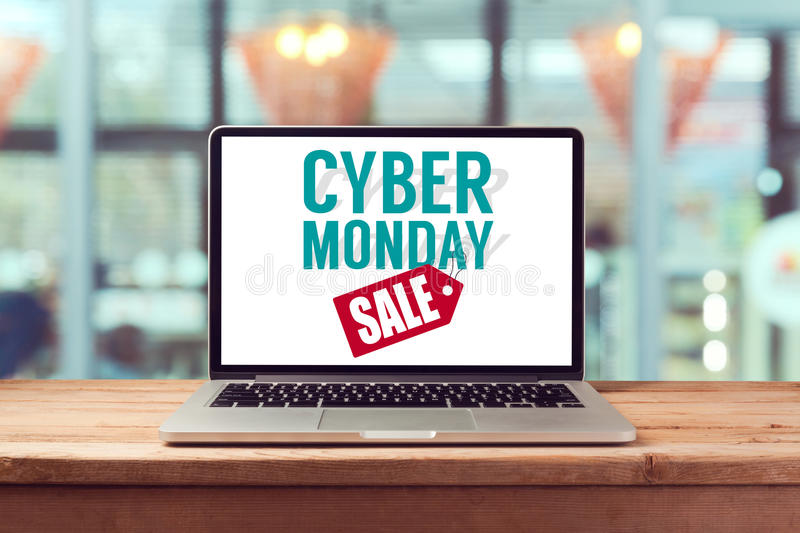 Cyber Monday sign on laptop computer. Holiday online shopping concept. View from above stock photo